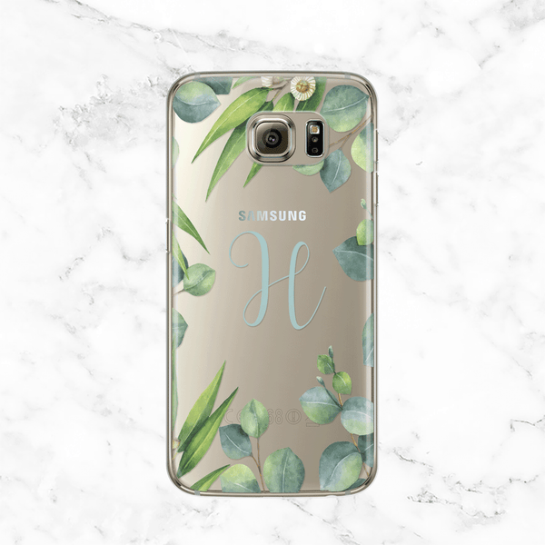Personalized Initial Eucalyptus Wreath Galaxy S7 Edge Phone Case