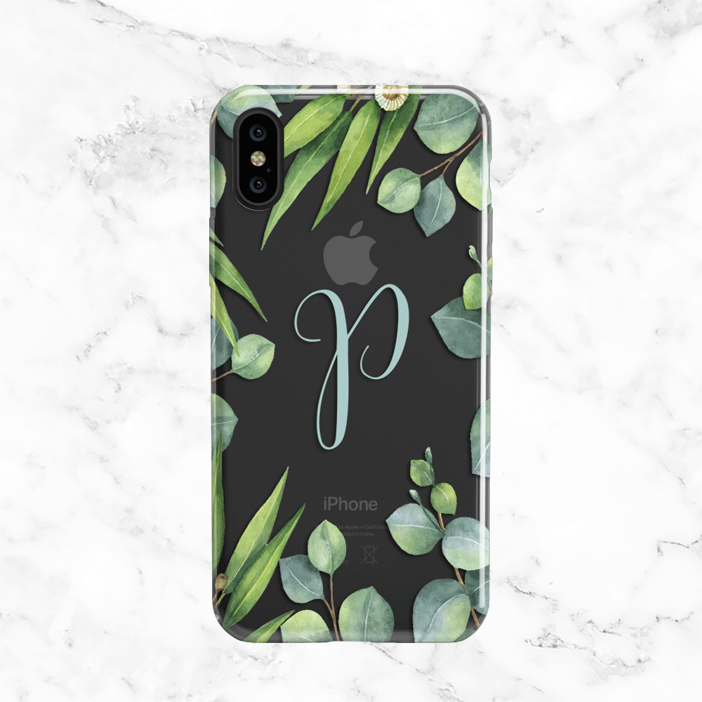 Personalized Initial Eucalyptus Wreath iPhone X Case