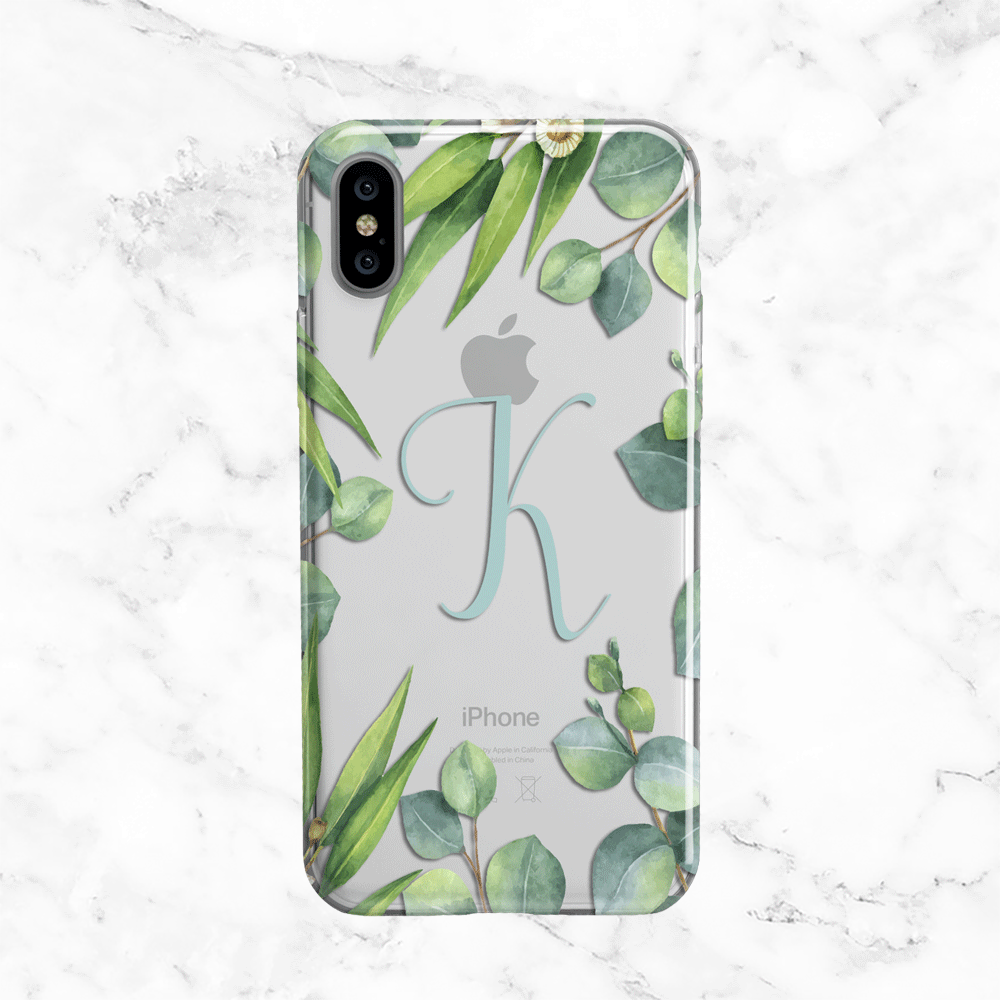 Personalized Monogram Eucalyptus Wreath iPhone X Case