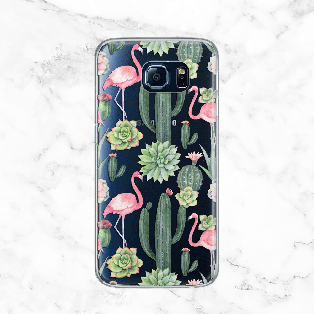 Flamingo and Cactus Galaxy S7 Case