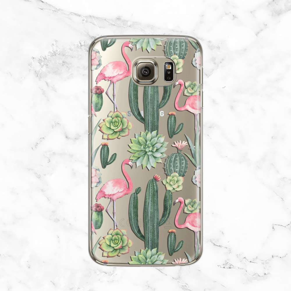 Cactus and Flamingo Galaxy S7 Edge Case