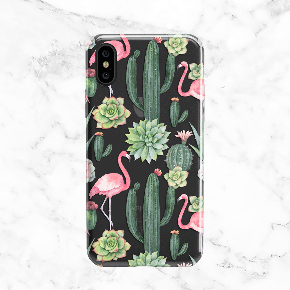 Cactus and Flamingo iPhone X Phone Case