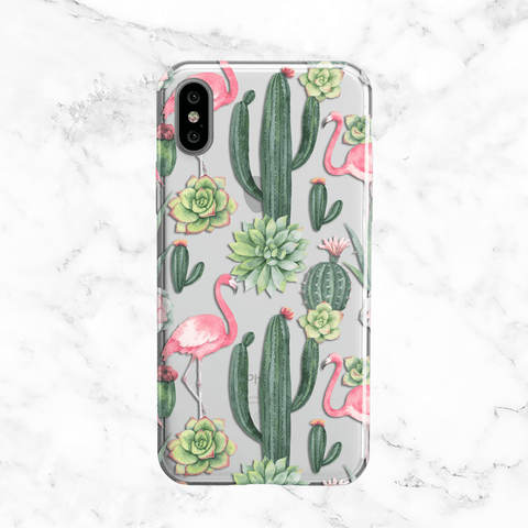 Cactus and Flamingo iPhone X Case