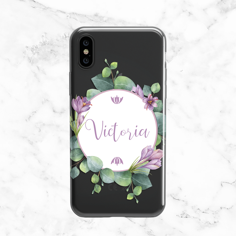Personalized Name Eucalyptus Wreath iPhone X Case