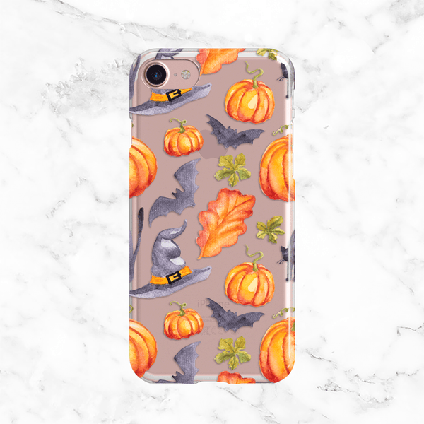 Halloween Witch Hat and Pumpkins Clear TPU Phone Case