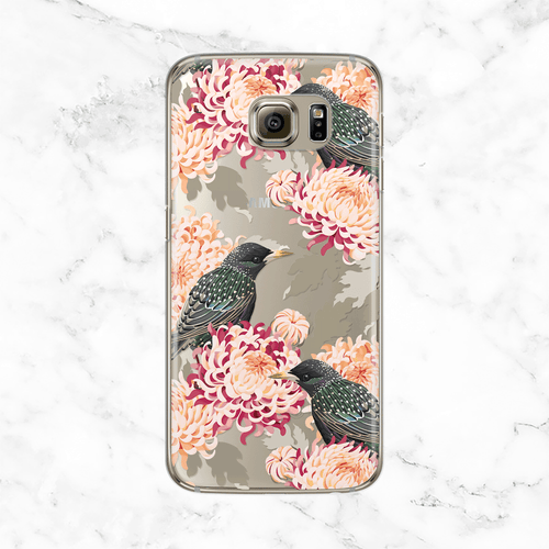 Chrysanthemum and Birds Samsung Galaxy Case