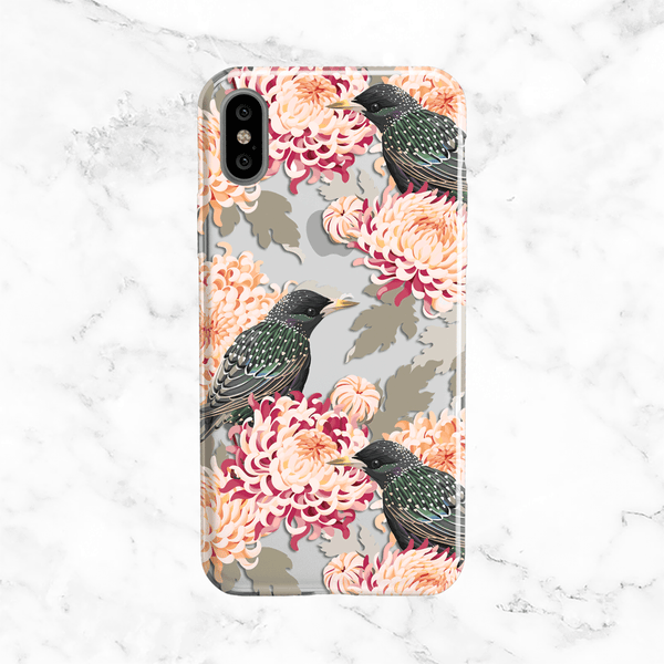 Chrysanthemum and Birds iPhone X Case