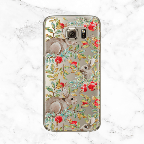 Pomegranate and Bunnies Clear Printed TPU Phone Case