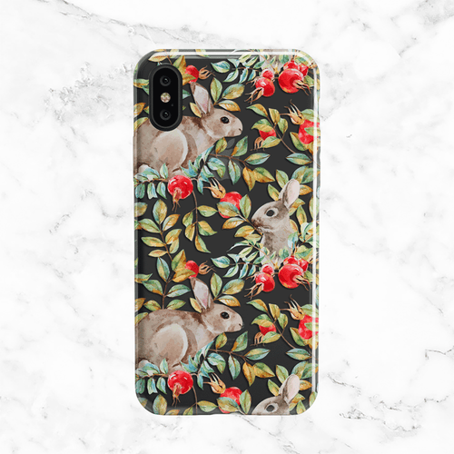 Pomegranate Bunnies iPhone X Case