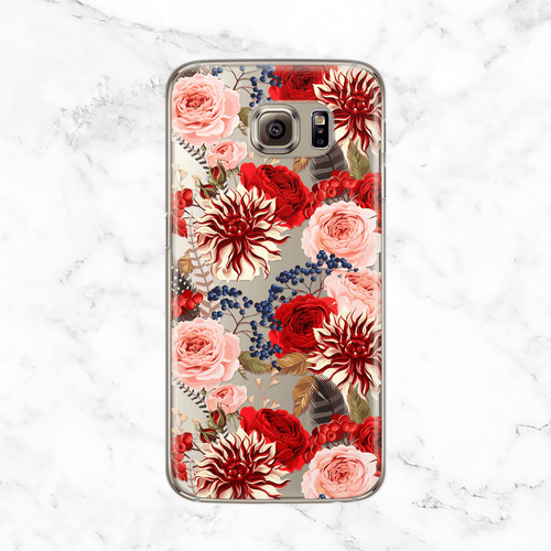 Winter Flowers and Feathers Clear Printed TPU Phone Case