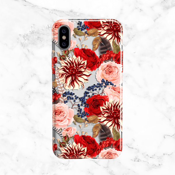 Winter Flowers and Feathers iPhone X Case
