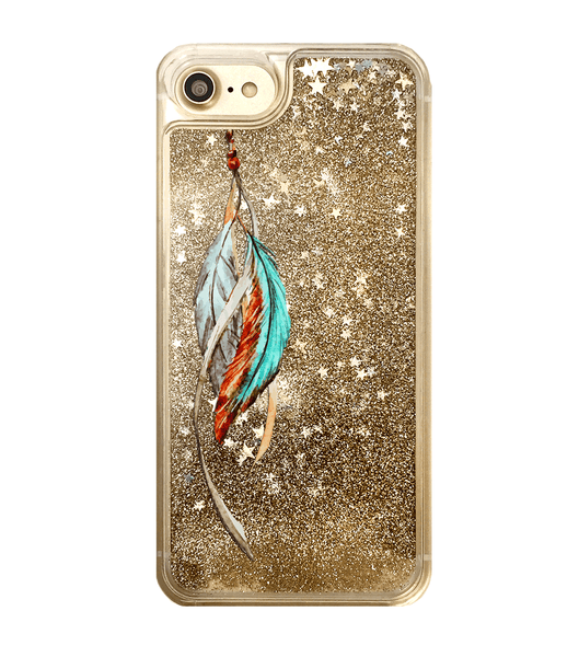 Gold Glitter Tribal Feathers iPhone Case