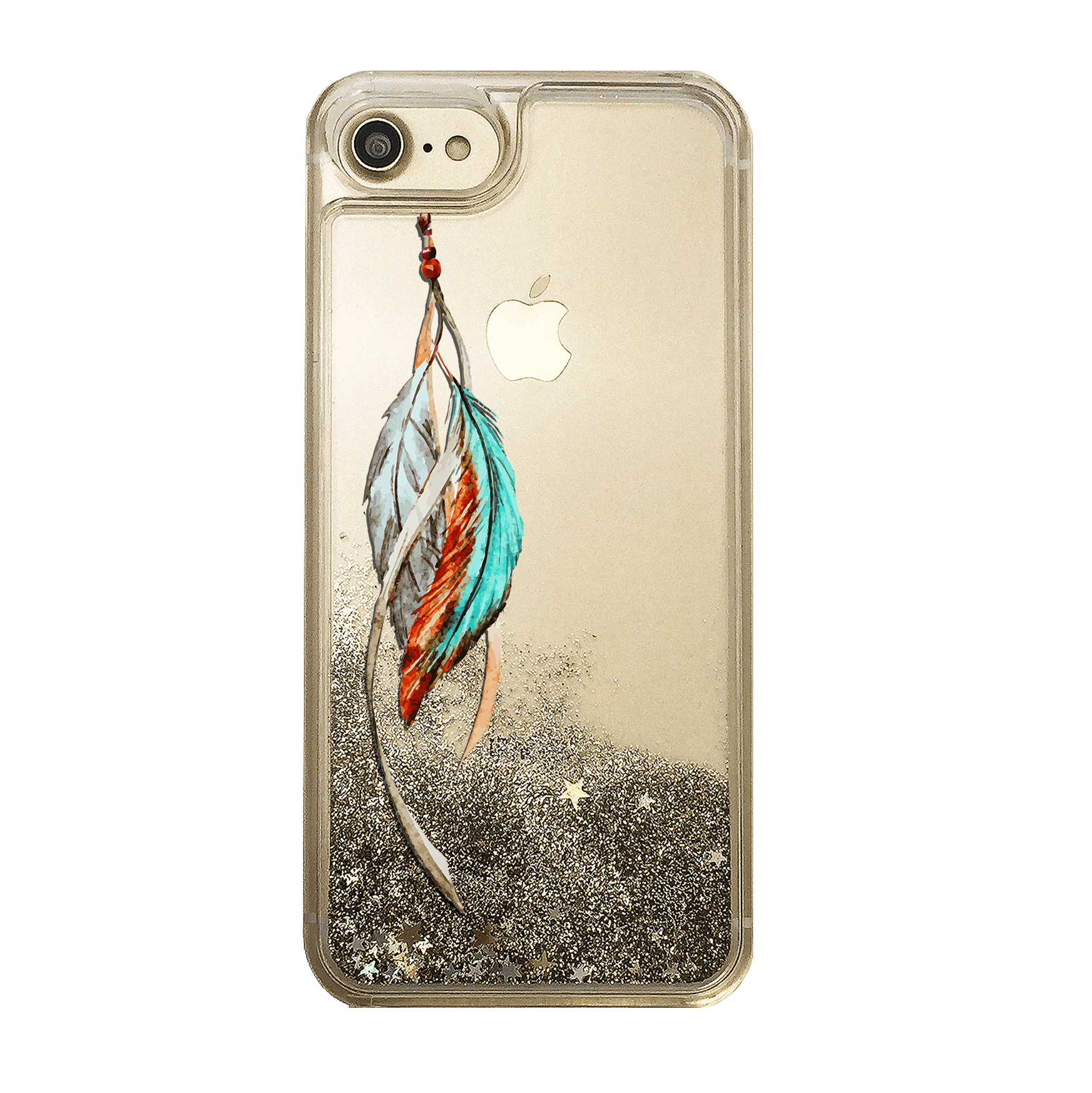 Tribal Feathers Gold Glitter Phone Case
