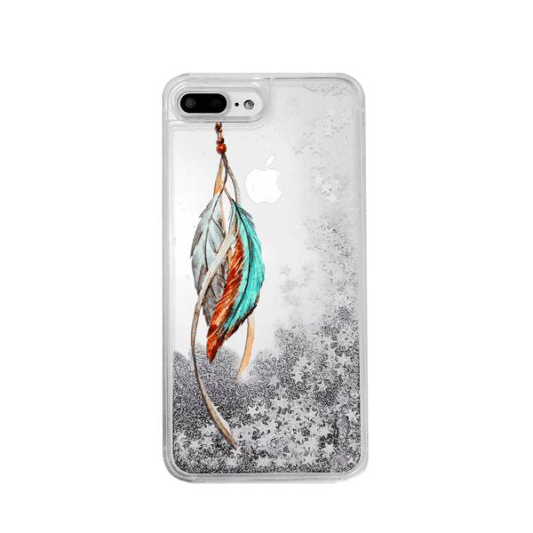 Tribal Feathers Silver Glitter Phone Case