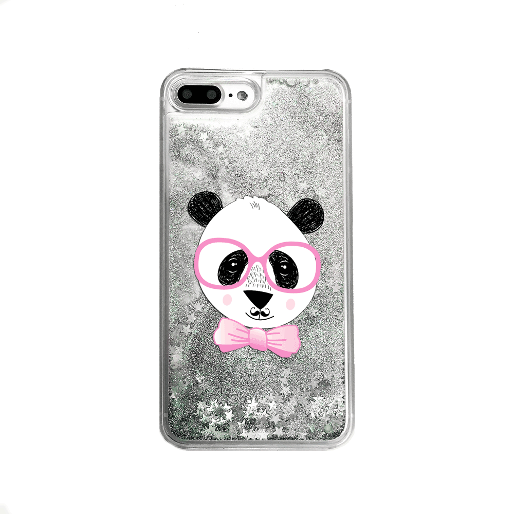 Silver Glitter Panda Bear iPhone Case