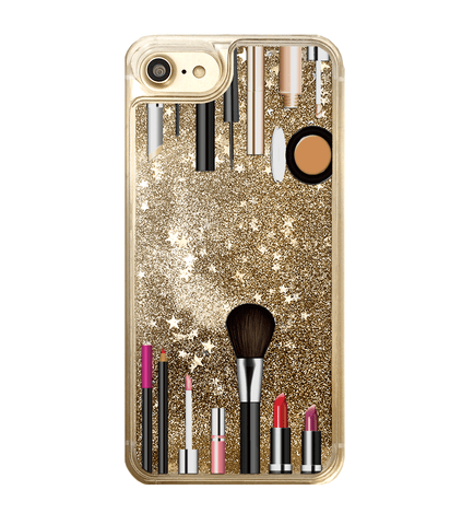 Gold Glitter Makeup Kit iPhone Case