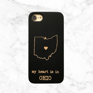 Custom State Wood Phone Case - My Heart is in...