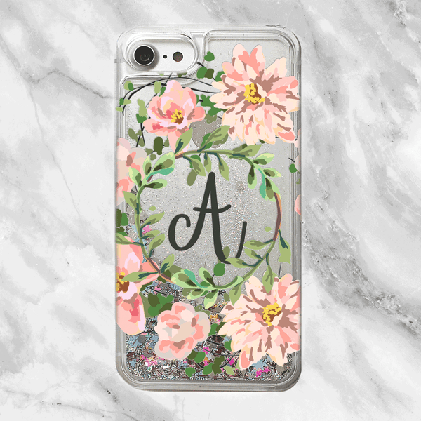 Custom Floral Wreath with Initial Rainbow Glitter Phone Case