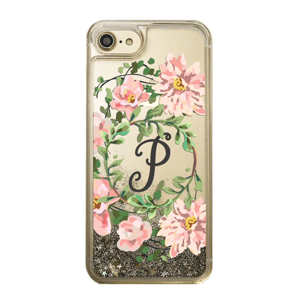 Custom Floral Wreath with Initial Gold Glitter Phone Case