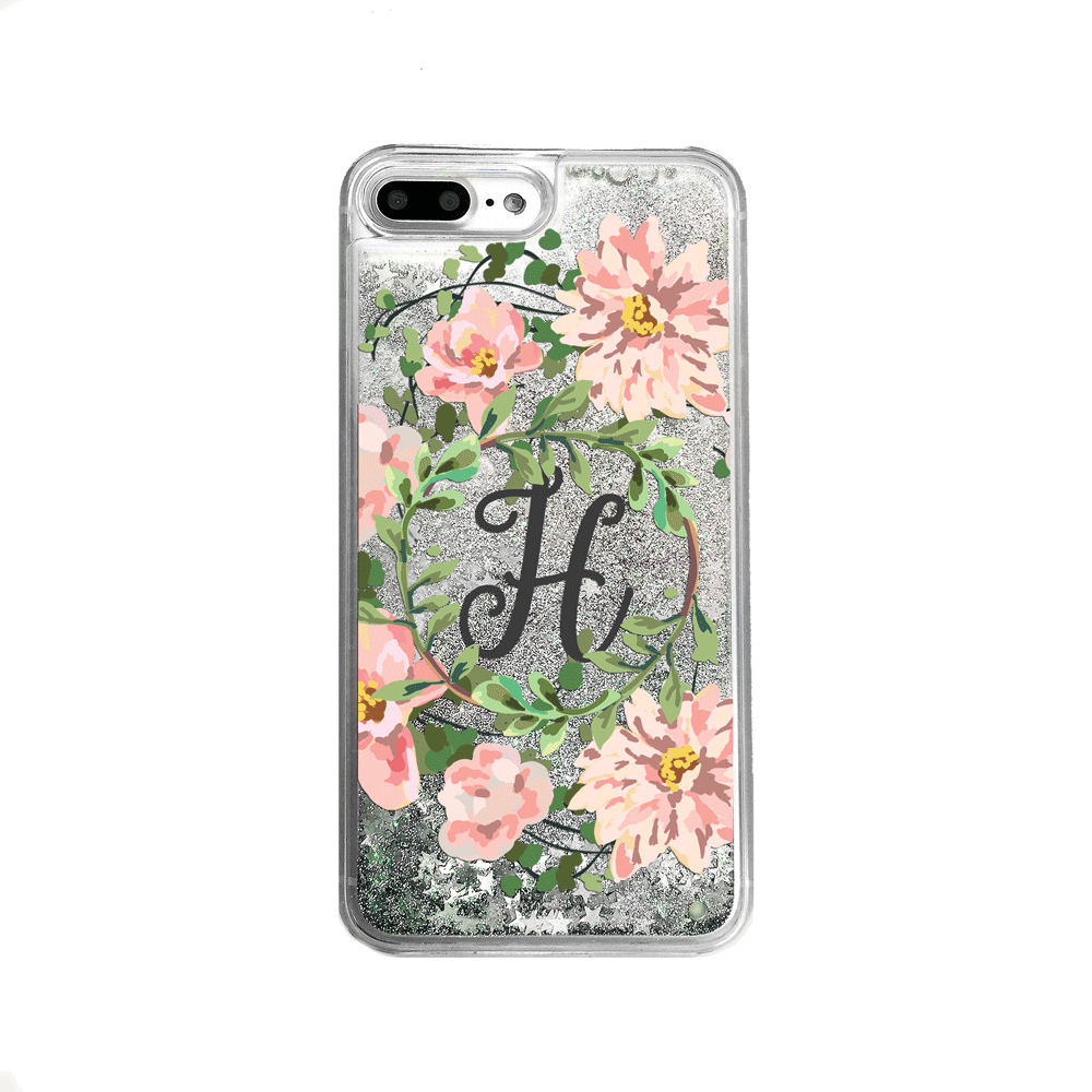 Custom Floral Wreath with Initial Silver Glitter iPhone Case
