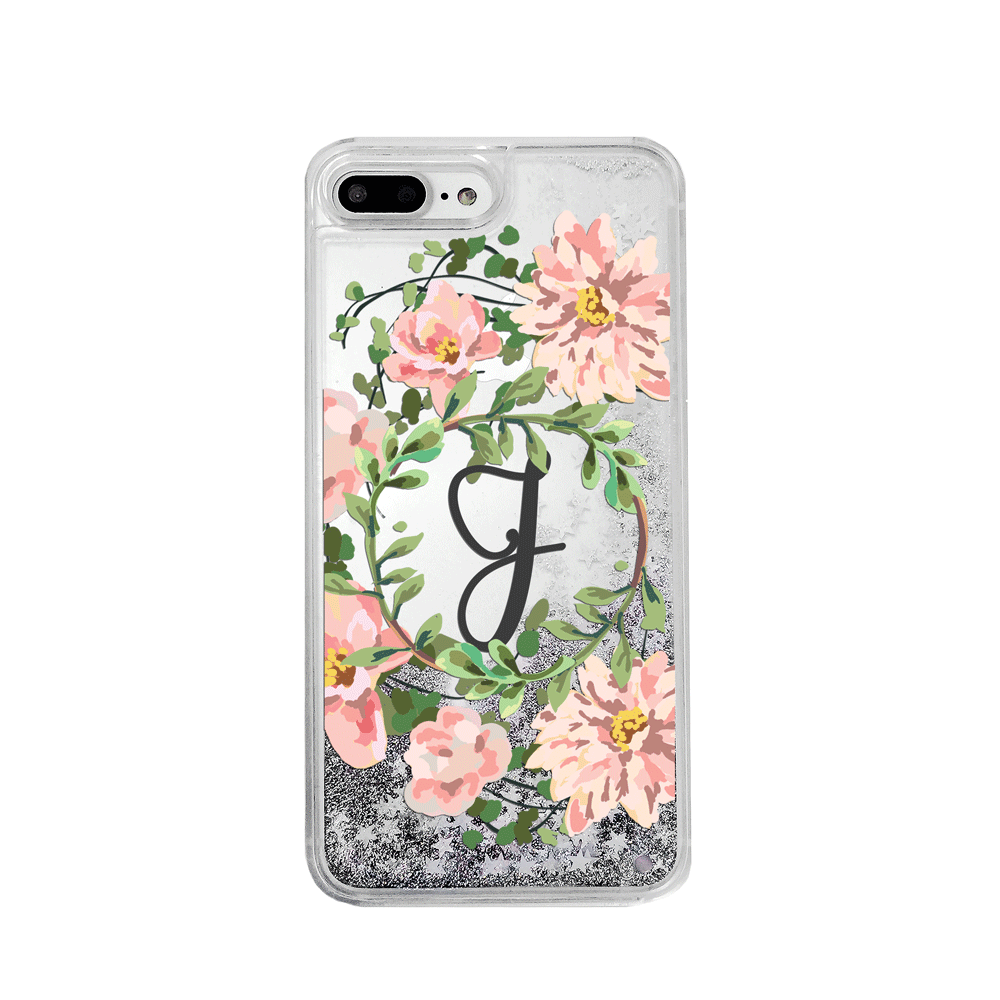 Custom Floral Wreath with Initial Silver Glitter Phone Case
