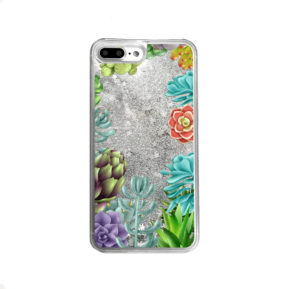 Silver Glitter Succulents iPhone Case