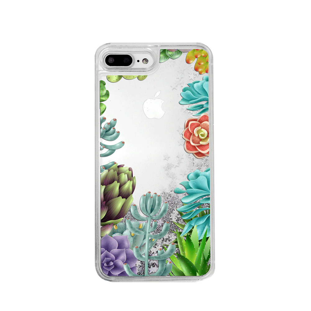 Succulent Collection Silver Glitter Phone Case