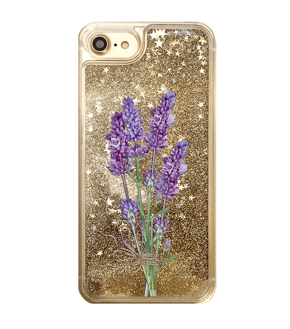 Gold Glitter Lavender Flowers iPhone Case