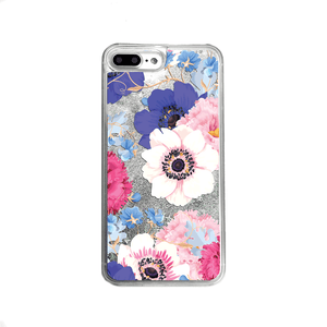 Silver Glitter Poppy Flowers iPhone Case