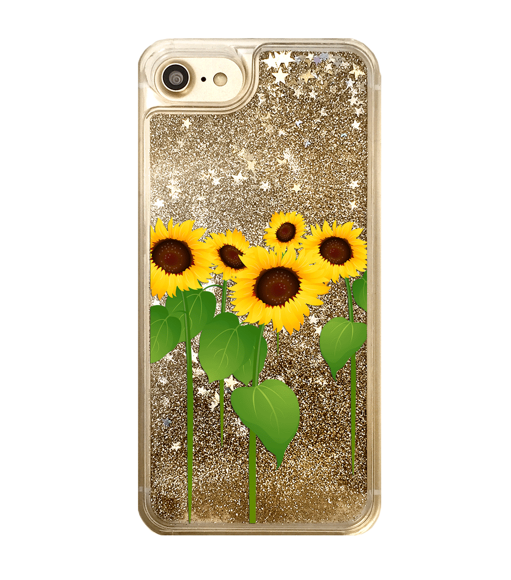 Gold Glitter Sunflowers iPhone Case