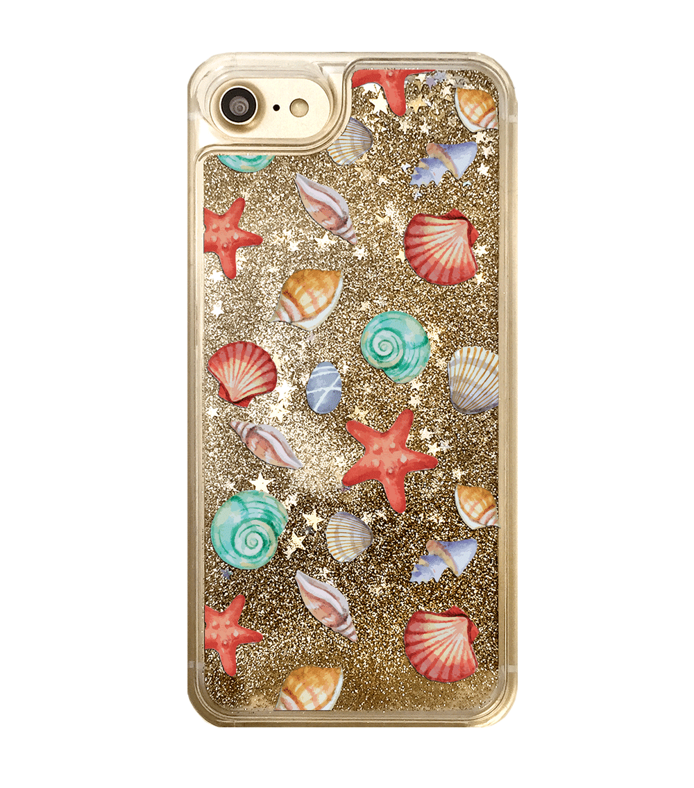 Gold Glitter Seashells iPhone Case