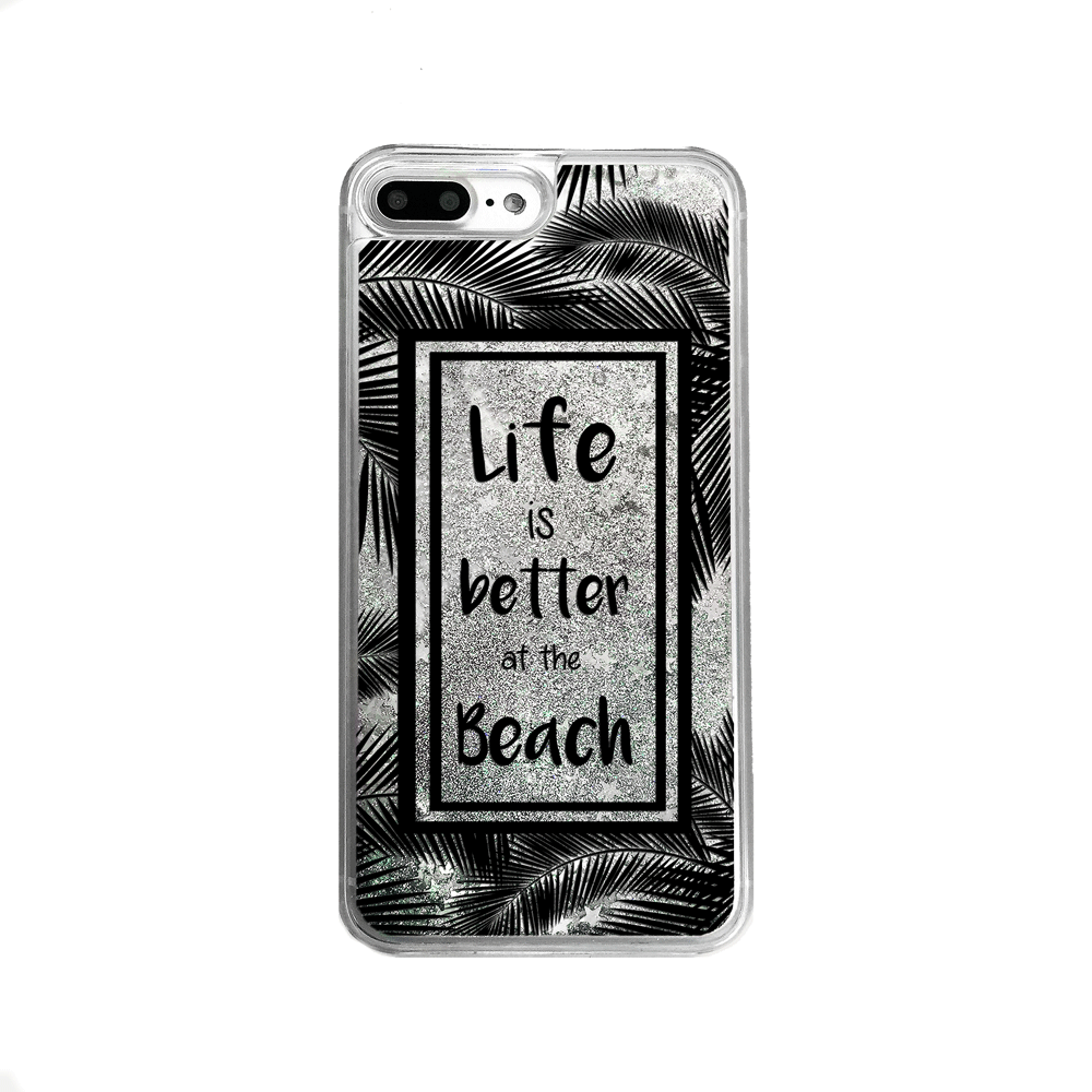 Silver Glitter Life is Better at the Beach iPhone Case