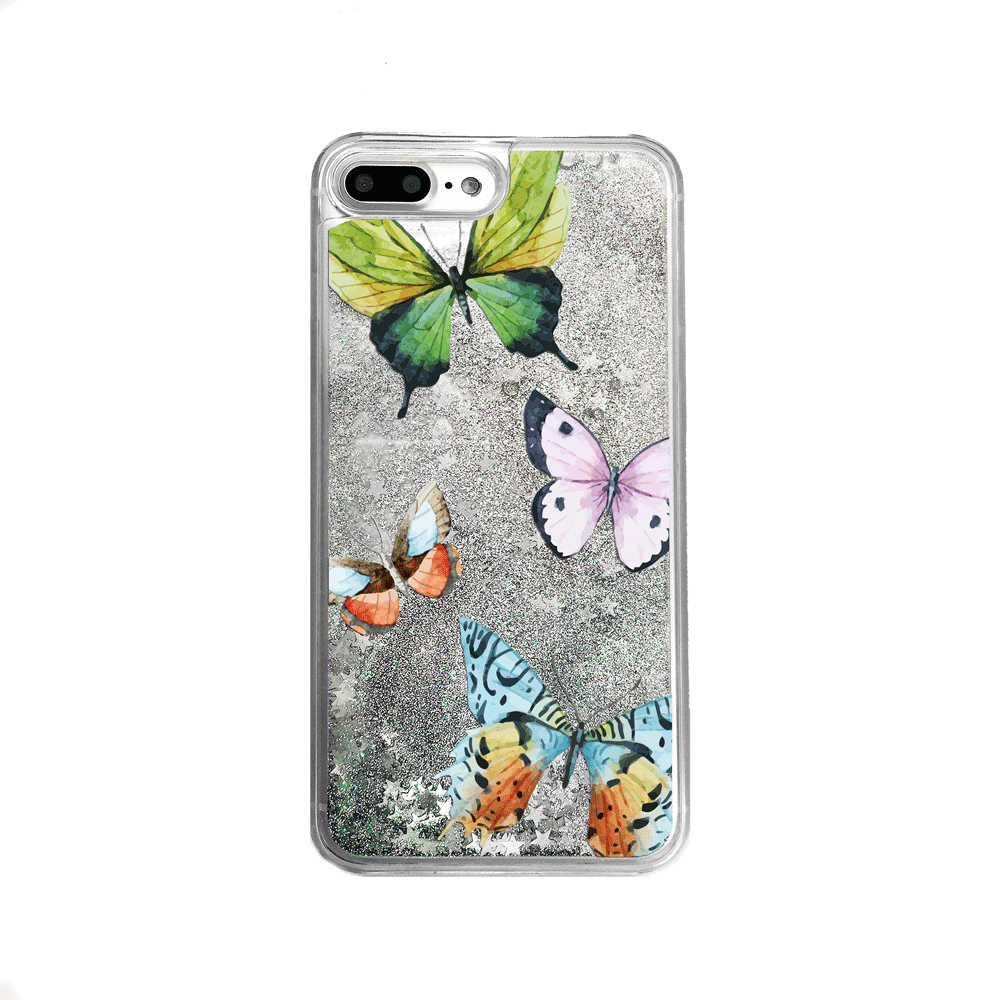 Silver Glitter Butterflies iPhone Case
