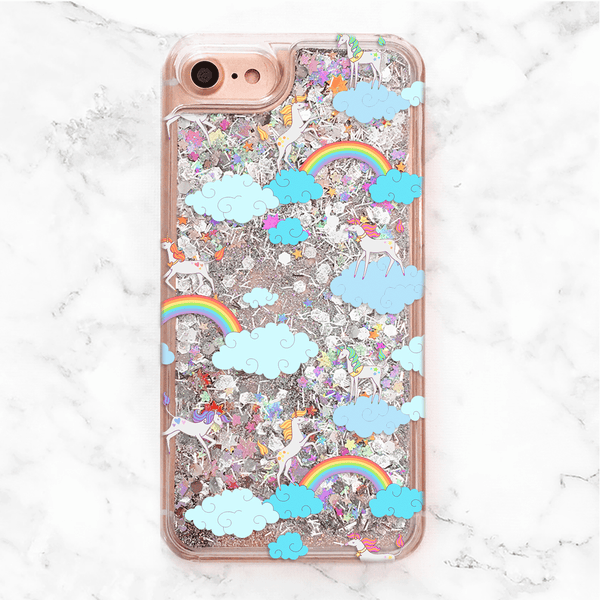 Liquid Glitter Unicorn Rainbow iPhone Case