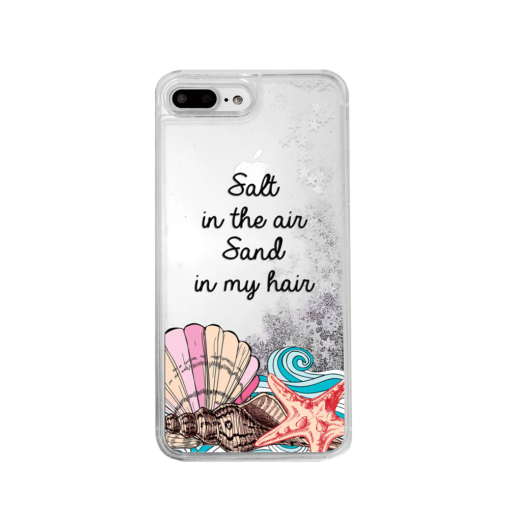 Beach Vibes Silver Glitter Phone Case