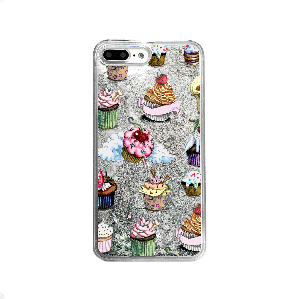 Silver Glitter Cupcakes iPhone Case