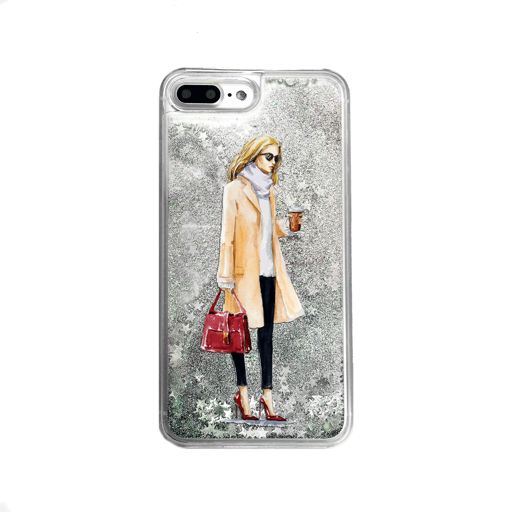 Silver Glitter Coffee Girl iPhone Case