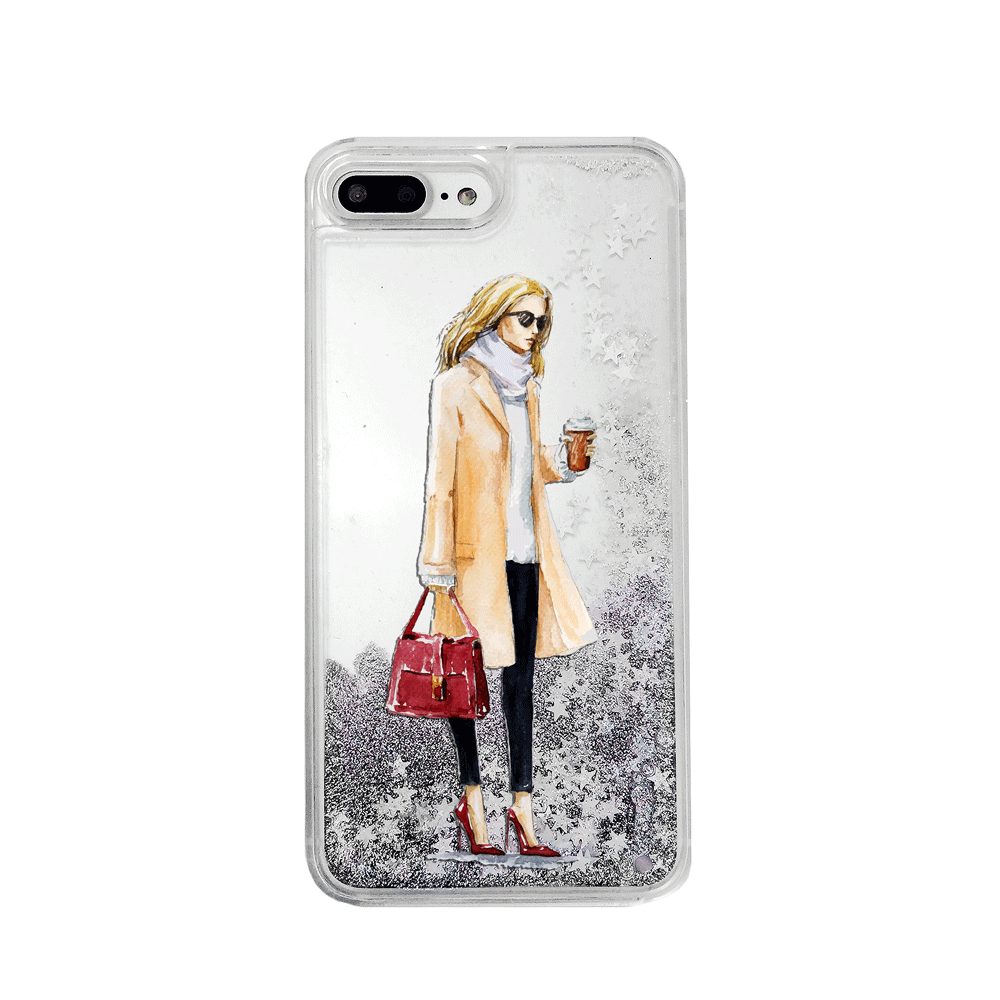 Coffee Girl Silver Glitter Phone Case