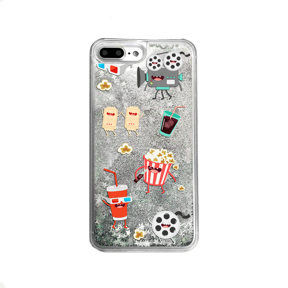 Silver Glitter Movie Lover iPhone Case