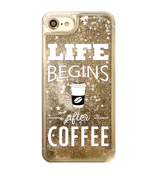 Life Begins After Coffee Gold Glitter iPhone Case