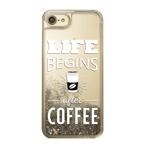 Life Begins After Coffee Gold Glitter Phone Case
