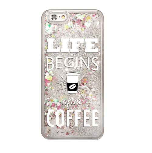 Life Begins After Coffee Rainbow Glitter Phone Case