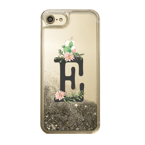 Custom Floral Cactus with Initial Gold Glitter Phone Case