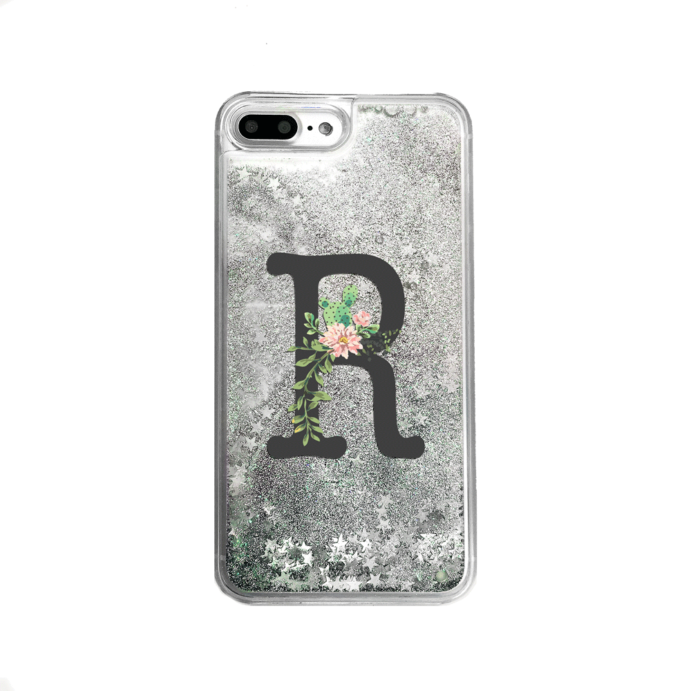 Custom Cactus Flower Monogram Silver Glitter iPhone Case