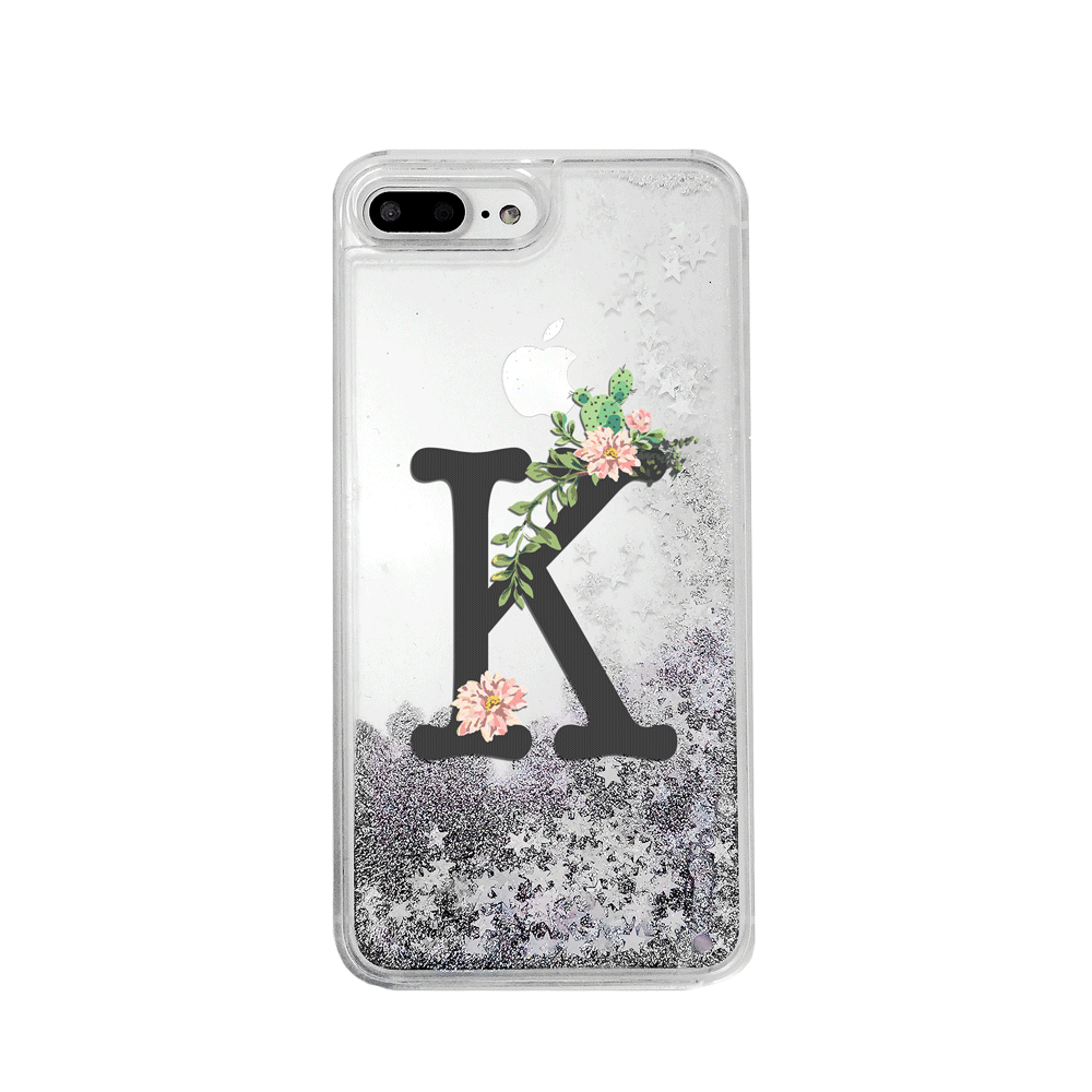 Custom Floral Cactus with Initial Silver Glitter Phone Case