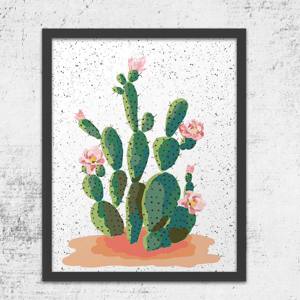 Blooming Prickly Pear Art Print