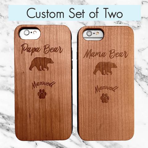 Matching Mama and Papa Bear Wood Phone Cases