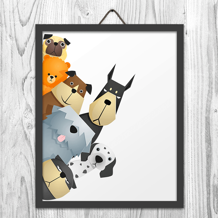 Peeking Dogs Art Print Wall Art