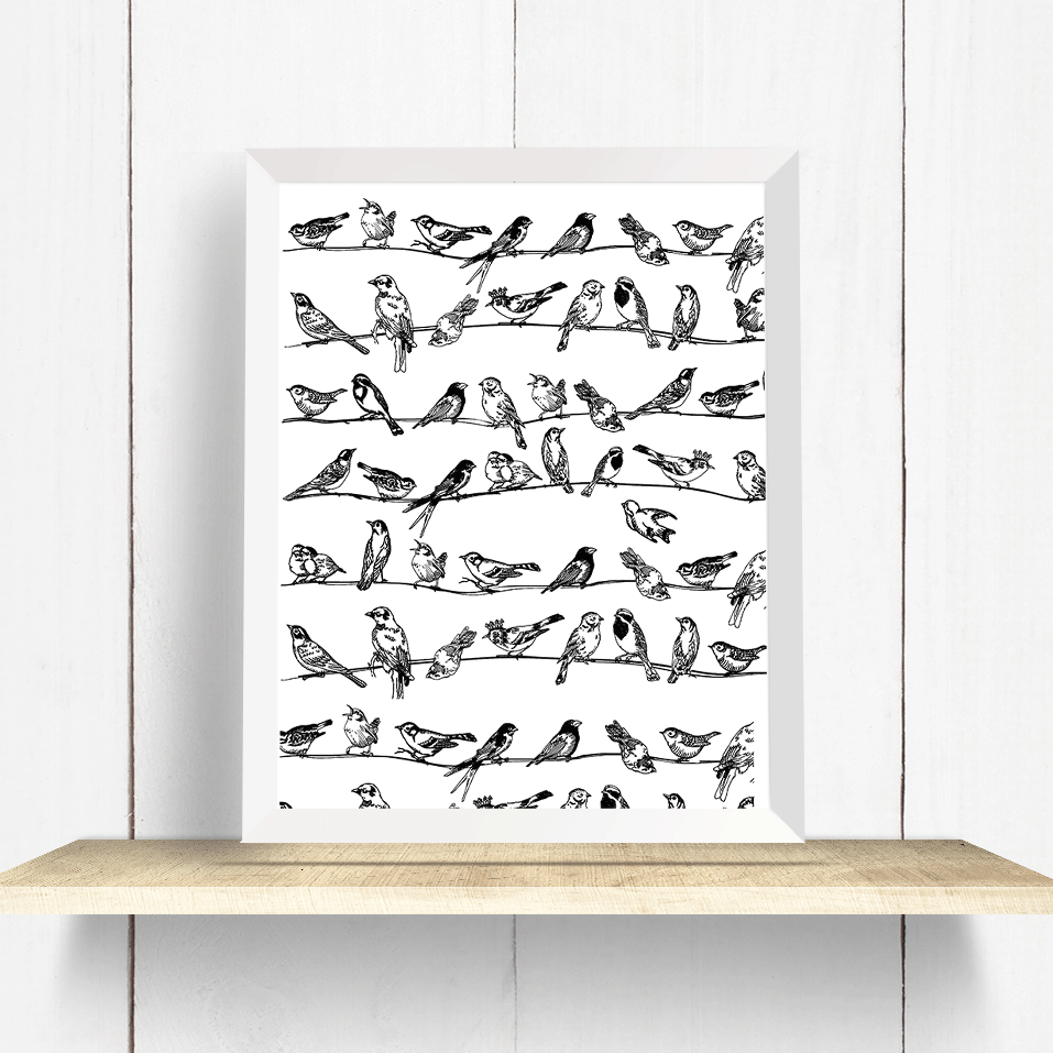 Black and White Birds on a Wire - Art Print – ARLA LaserWorks
