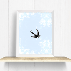 Flying Swallow Wall Art Print